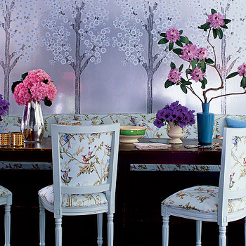 Purple Metallic Wallpaper, Eclectic, dining room, Elle Decor