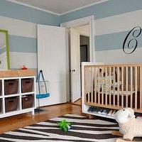 Shelter Interior Design - nurseries - striped nursery, striped nursery walls, blue striped walls, blue striped nursery, blue striped nursery walls, white and blue striped walls, white and blue striped nursery, white and blue striped nursery walls, changing table, zebra rug, two tone crib,