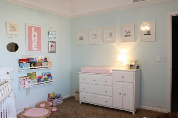 Turquoise And Pink Nursery Transitional Nursery