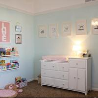 nurseries - nursery, crystal knobs, wall shelves, girls nursery, nursery paint colors, turquoise walls, turquoise paint, turquoise paint colors, sherwin williams turquoise colors, sherwin williams turquoise paint, sherwin williams turquoise paint colors, changing table, white changing table, nursery bookshelf, , LOVE Cotton Candy Poster, Pottery Barn Collector's Shelves,