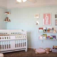 nurseries - dwell charlotte, nursery, crystal knobs, wall shelves, girls nursery, nursery paint colors, turquoise walls, turquoise paint, turquoise paint colors, sherwin williams turquoise colors, sherwin williams turquoise paint, sherwin williams turquoise paint colors, nursery bookshelf, white crib, caddy corner crib, corner crib, , LOVE Cotton Candy Poster, Pottery Barn Collector's Shelves,