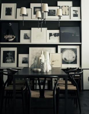 dining rooms - Wishbone Chair Bryant Chandelier white black black wood dining table Jonathan Adler ceramic statues vases white Ikea lack floating shelves photo gallery black walls