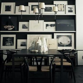 dining rooms - wishbone chair, black wishbone chair, art wall, dining room art gallery, bryant chandelier, orb chandelier, Wishbone Chair, Bryant Chandelier,