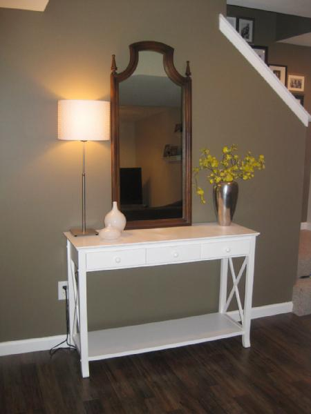 basements - Benjamin Moore - Texas Leather - mirror, foyer mirror, taupe walls, taupe paint, taupe wall paint, white console table, foyer table, white foyer table,