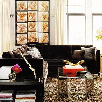 living rooms - velvet sectional, brown velvet sectional, velvet sectional, glass top coffee table,  Marilyn Monroe Living Room  eclectic living