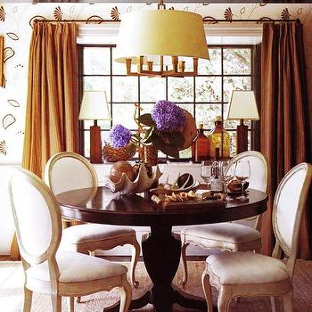 dining rooms - orange curtains, burnt orange curtains, orange drapes, burnt orange drapes, round dining table, round back dining chairs, orange silk curtains, orange silk drapes, Square Tube Chandelier,