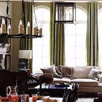 living rooms - green curtains, green drapes, green silk curtains, green silk drapes,  Green & cream living room colors - Silk green drapes, oatmeal