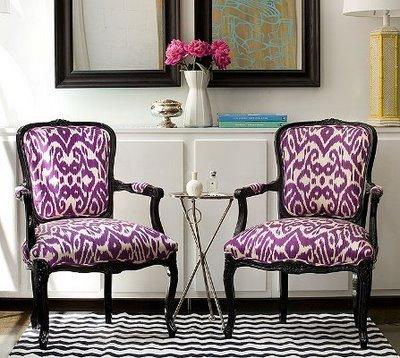 living rooms - Silver French Flea Market Table purple ikat chairs black and white rug  ikat chairs  purple ikat french bergere chairs, white