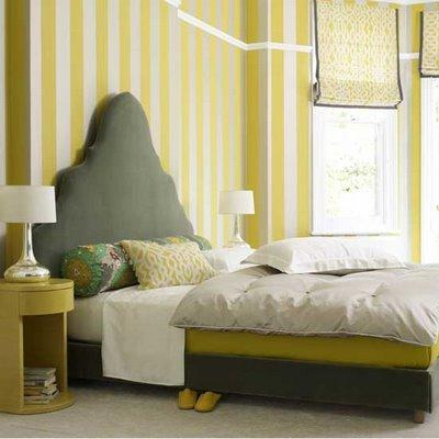 House to Home - bedrooms - gray, headboard, side table, striped, yellow, white, walls, wallpaper, yellow, roman, shades, gray, trim, silver, lamps, yellow, gray, bedroom, yellow and gray bedroom, gray and yellow bedroom, gray and yellow bedrooms, yellow and gray bedroom design, gray and yellow, yellow and gray,