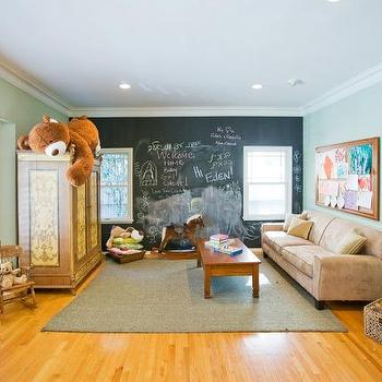 Jill Seidner Interior Design - nurseries - playroom, kids' rooms, chalkboard accent wall, playroom chalkboard wall,  playroom