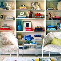 Annsley Interiors - media rooms - bookshelf, built-ins, white, chairs, pink, fabric, blue, vase, nesting tables, acrylic nesting tables, lucite nesting tables, Acrylic Nesting Tables,