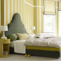 House to Home - bedrooms - yellow and gray bedroom, gray and yellow bedroom, gray and yellow bedrooms, yellow and gray bedroom design, gray and yellow, yellow and gray, striped wall, vertically striped wall, vertical striped wall, white and yellow striped walls, gray headboard, yellow and gray bedding, yellow nightstands,