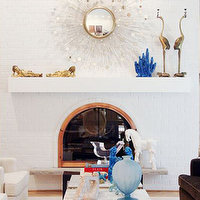 Michelle Williams Interiors - living rooms - silver, sunburst, mirror, floating, shelf, fireplace, sunburst mirror, silver sunburst mirror,
