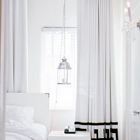bedrooms - greek, key, curtains, drapes, white, bedroom,  Halli Burton  b and w bedroom - stark white bedroom with white drapes, white headboard,