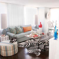 Michelle Williams Interiors - living rooms - zebra bench, zebra cowhide rug, skirted ottoman, striped ottoman, blue sofa, blue couch, rolled arm sofa, rolled arm couch, blue rolled arm sofa, blue rolled arm couch, geometric end tables, white end tables, , Zebra Cowhide Rug,
