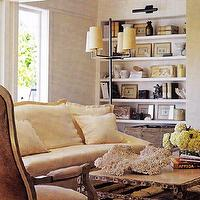 living rooms - coral, decorative coral,  Beachy living room  chic beachy, coastal living room design with built-ins, floating shelves, iron,