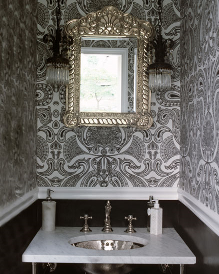 black wallpaper room. bathrooms - lack white