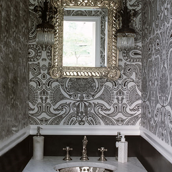 Lori Graham Design - bathrooms - black and white powder room, powder room, black and white wallpaper, flocked wallpaper, black and white flocked wallpaper, damask wallpaper, black and white damask wallpaper, chair rial, powder room chair rail, powder room sconces, marble washstand, hammered silver sink, hammered metal sink, powder room mirror,