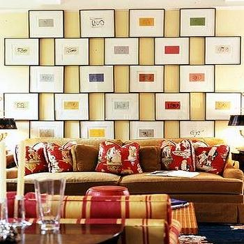 living rooms - art gallery, art gallery over sofa,  Modern, fun living room space  eclectic yellow brown red living room design with gallery