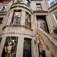 Brooklyn Limestone - home exteriors - limestone home, Halloween, skeletons, halloween decor,  Fantastic, scary Halloween skeleton decorations!