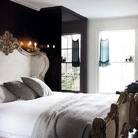 bedrooms - french bed, french rococo bed, french headboard, french rococo headboard, lacquered walls, black lacquered walls, lacquer walls, blacklacquer walls,