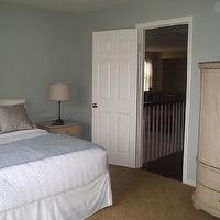 bedrooms - Behr Nurture, round mirror, blue, grey, armoire,  Guest room, dusty grey green blue walls.  Base color of paint is &#034;Nurture&#034; but I