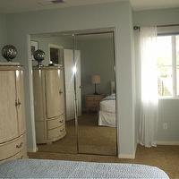 bedrooms - Behr Nurture, armoire, mirrored closet, grey blue paint, behr nurture, sheer white panels,  Guest Bedroom, added umber to paint &#034;Nurture&#034;,