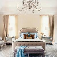 House Beautiful - bedrooms - purple, lilac, tufted, velvet, bench, headboard, blue, beige, rug, mirrored, Horchow, nightstands, crystal, chandelier, tall, crystal, glass, lamps, lilac, bergere, chair, beige, linen, drapes, blue, brown, velvet, throw pillows,