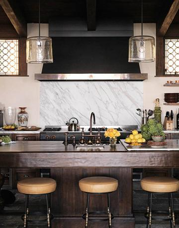 kitchens - cooktop backsplash, marble cooktop backsplash, leather bar stools,  Love the glass lantern pendant lights, white carrera carrara marble