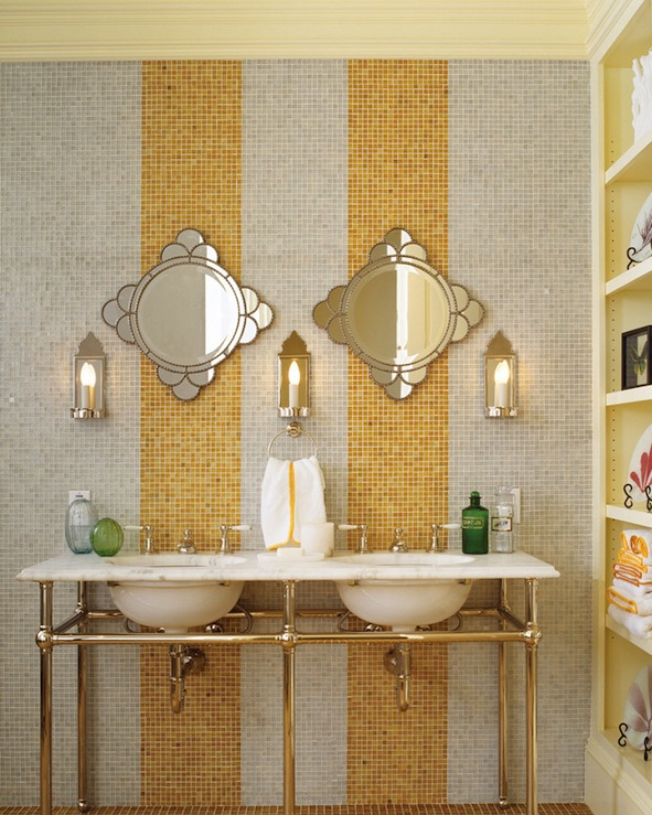 Jeffers Design Group - bathrooms - Apothecary Double Sink Console, yellow, gray, glass tiles, venetian, mirrors, green, glass, vases, butter yellow, built-in, shelves, bathroom, gray and yellow bathroom, yellow and gray bathroom,