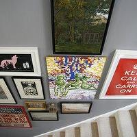 entrances/foyers - stairwell art wall, staircase art wall,  Eclectic photo gallery in entrance foyer  Gray walls and beige carpet runner. Keep