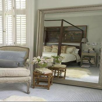 James Michael Howard - bedrooms - floor mirror, gray floor mirror, beveled floor mirror, gray beveled floor mirror, bergere chair, gray bergere chair, bamboo accent table,