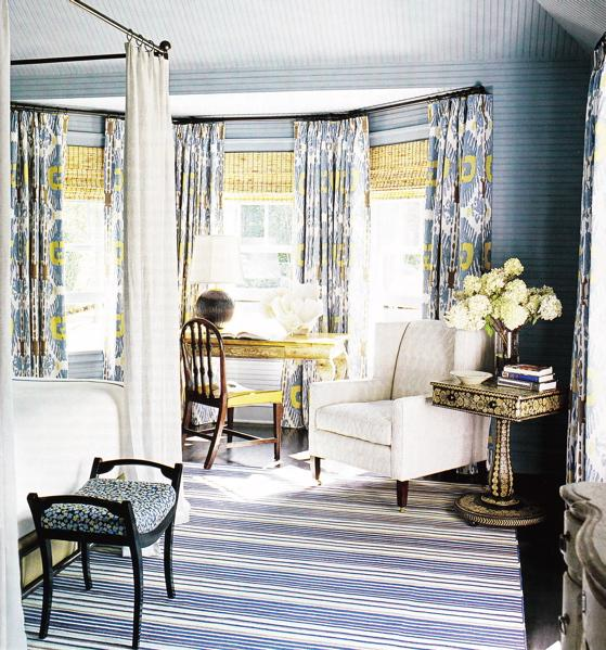 Bedrooms blue white striped rug blue yellow polka dot black bench