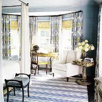 bedrooms - blue yellow gray bedroom, blue and yellow bedroom, blue and gray bedroom, blue and yellow bedroom, ikat curtains, layered window treatments, striped rug, white and blue striped rug, iron canopy bed, blue and yellow curtains, blue and yellow drapes, blue and yellow ikat,