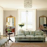 living rooms - aqua sofa, patterned sofa, 3 cushion sofa, ornate crown molding, gray walls,  french chic living room from brocantegirl's photostream
