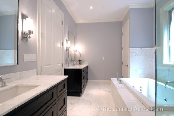 bathrooms - white, carrera, carrara, marble, countertops, chrome, mirrors, chrome, modern, sconces, marble, tiles, floors, crown molding, blue gray walls, purple, brown, bathroom,