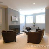 basements - family room, basement family room, brown and blue family room, blue and brown living room, blue walls, brown sofa,  Jennifer Ames