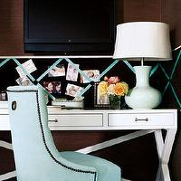 Traditional Home - dens/libraries/offices - lacquer desk, white lacquer desk, white desk, lacquered desk, white lacquered desk, desk nook, desk alcove, white lacquered desk, turquoise chair, turquoise blue chair, turquoise desk chair, turquoise velvet chair, turquoise tufted chair, Baker Chair,