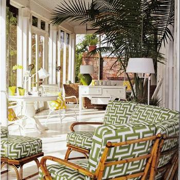 Coastal Living - porches - pedestal table, outdoor furniture, graphic pattern, covered patio, covered patio with beadboard trim, patio beadboard ceiling, bamboo outdoor furniture,
