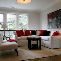 Giannetti Home - living rooms - white, sectional, sofa, red, black, pillows, jute, rug, slipper, chairs, sectional, sectional sofa, white sectional, white sectional sofa, slipcovered sectional, slipcovered sectional sofa, white slipcovered sectional, white slipcovered sectional sofa,