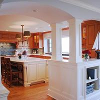 Teresa Meyer Interiors - kitchens - kitchen, marble, white, glass, tile, stained, cabinets, island, counter tops, walnut, blue, Benjamin Moore Linen White,