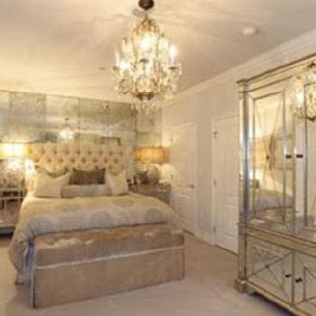 bedrooms - bedding, mirrored nightstands, mirrored armoire, floor to ceiling mirror, mirrored accent wall, antiqued mirrored wall, antiqued mirrored accent wall, kim kardashian bedroom, Amelie Nightstand, Mirrored Armoire,