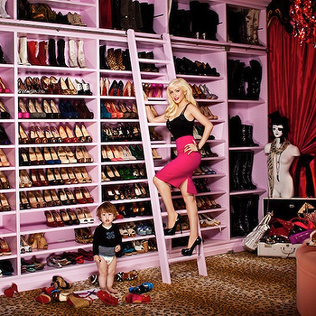 Douglas Friedman - closets - shoe cabinet, shoe cabinets, shoe shelves, shelves for shoes, shoe storage, shoe closet, closet shoe shelves, shoe racks, closet shoe racks, floor to ceiling shoe shelves, floor to ceiling shoe cabinets, leopard rug, closet ladder, pink ladder, pink closet ladder, pink shoe shelves, pink shelves for shoes, red curtains, red silk curtains, closet curtains, boot shelves, shelves for boots,
