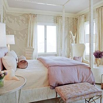 Traditional Home - girl's rooms - canopy bed, white canopy bed, lavender duvet, lavender bedding, lavender bolster pillow, lavender shams, round bedside tables, lavender ceiling, bedroom sitting area,