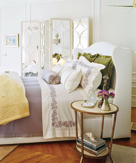 Traditional Home - bedrooms - white, mirrored, floor, screen, white, wingback, bed, French, brass, round, nightstand, white, purple, floral, bedding, green, velvet, pillows, purple, bolster pillow, wood, parquet, floors, wingback upholstered headboard, wingback headboard, white wingback headboard, white wingback upholstered headboard,