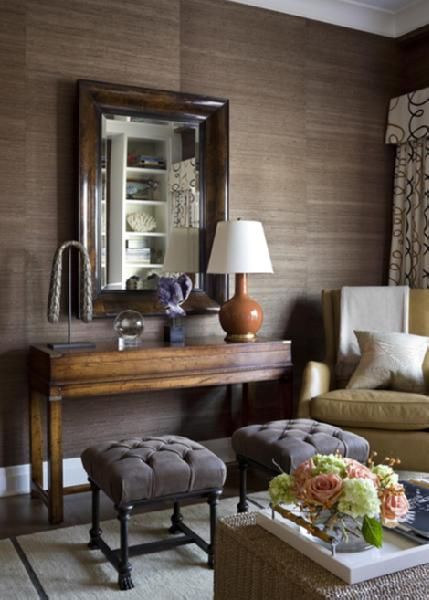 Brown Grasscloth Wallpaper Transitional Living Room