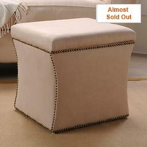 Seating - Upholstered Storage Ottoman at HSN.com - ottoman, storage, nailhead