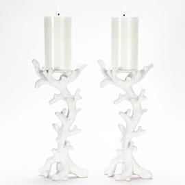 Decor/Accessories - Coral Pillar Holders 11 - candle holder, pillar, coral, white