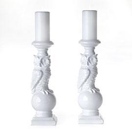Decor/Accessories - Prentise Pillar Holder | Z Gallerie - candle holder, owl, white, ceramic