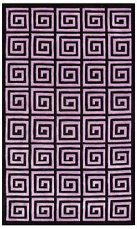 Rugs - Roman Maze Purple Handmade Rug | LampsPlus.com - rug, black, purple
